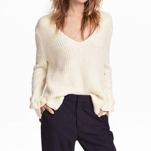 H&M Double Knit Beige V-Neck Sweater